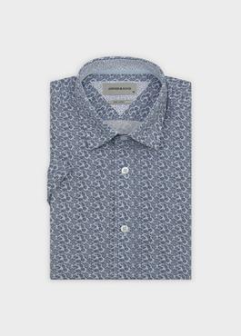 Chemise manches courtes Slim en popeline de coton à motif fleuri bleu 1 - Father And Sons