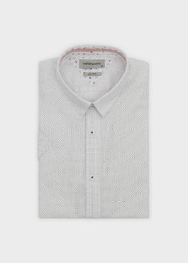 Chemise manches courtes Slim en popeline de coton à pois noir 1 - Father And Sons