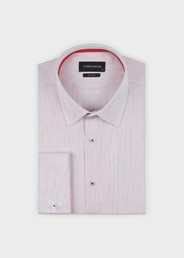 Chemise habillée Slim en popeline de coton rayée rose 1 - Father And Sons