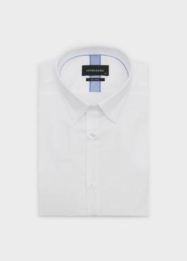 Chemise habillée Slim en satin blanc avec liseré bleu 1 - Father And Sons