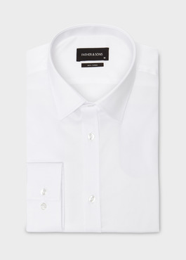 Chemise habillée Regular en coton sergé uni blanc 1 - Father And Sons