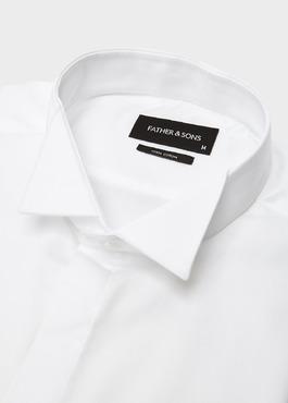 Chemise habillée Regular en satin uni blanc col cassé 2 - Father And Sons