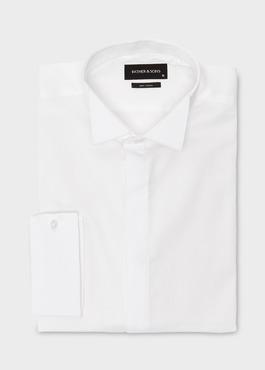 Chemise habillée Regular en satin uni blanc col cassé 1 - Father And Sons