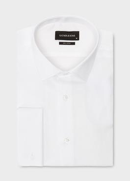 Chemise habillée Slim en satin blanc à poignets mousquetaires 1 - Father And Sons