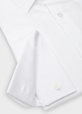 Chemise habillée Slim en satin blanc à poignets mousquetaires 2 - Father And Sons