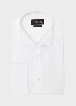 Chemise habillée Slim en satin blanc à col cassé 1 - Father And Sons