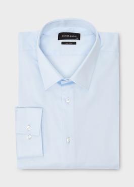 Chemise habillée Slim en satin uni bleue claire 1 - Father And Sons