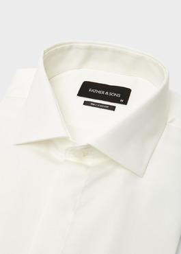Chemise habillée Slim en coton sergé écru à col italien 2 - Father And Sons