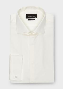 Chemise habillée Slim en coton sergé écru à col italien 1 - Father And Sons