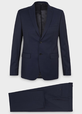 Costume 2 pièces Regular en laine Vitale Barberis Canonico unie bleu indigo 1 - Father And Sons
