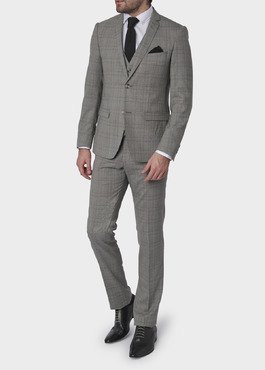 Costume 2 pièces Slim en laine grise Prince de Galles 2 - Father And Sons
