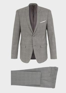 Costume 2 pièces Slim en laine grise Prince de Galles 1 - Father And Sons
