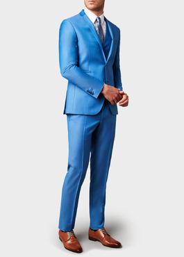 Costume 2 pièces Slim en laine unie bleu azur 2 - Father And Sons