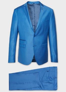 Costume 2 pièces Slim en laine unie bleu azur 1 - Father And Sons