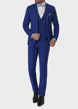 Costume 2 pièces Slim en laine unie bleu roi 2 - Father And Sons
