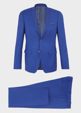 Costume 2 pièces Slim en laine unie bleu roi 1 - Father And Sons