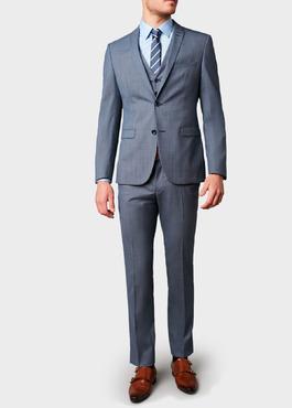 Costume 2 pièces Slim en laine façonnée unie bleu gris 2 - Father And Sons