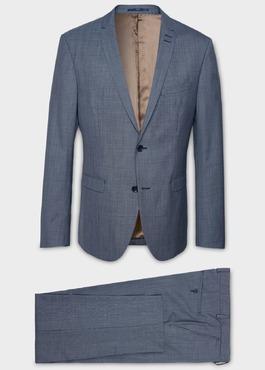 Costume 2 pièces Slim en laine façonnée unie bleu gris 1 - Father And Sons