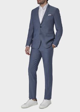 Costume 2 pièces Slim en laine bleu gris chiné 2 - Father And Sons