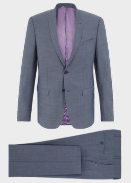 Costume 2 pièces Slim en laine bleu gris chiné 1 - Father And Sons