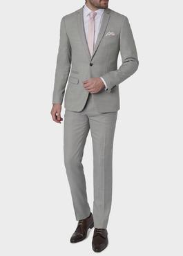 Costume 2 pièces Slim en laine façonnée unie gris clair 2 - Father And Sons