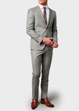 Costume 2 pièces Slim en laine façonnée unie grise 2 - Father And Sons
