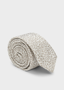 Cravate fine en soie blanche à motif fleuri beige 1 - Father And Sons