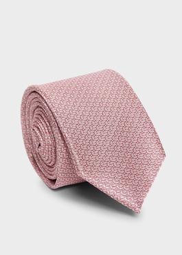Cravate large en soie rose clair à motif fantaisie bleu clair 1 - Father And Sons