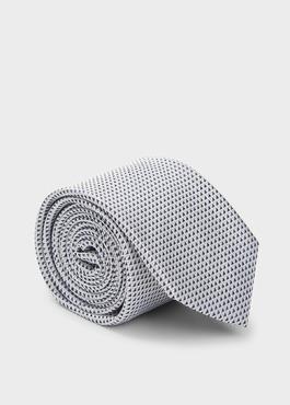 Cravate large en soie greige à motifs géométriques bleus 1 - Father And Sons