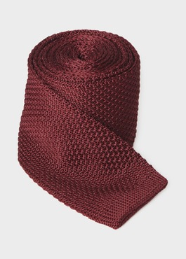 Cravate fine en tricot uni bordeaux 1 - Father And Sons