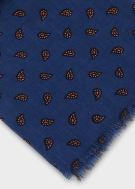 Echarpe en coton bleu à motif fantaisie orange 2 - Father And Sons