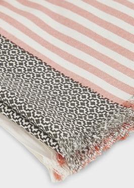 Echarpe en coton corail à motifs géométriques gris 2 - Father And Sons