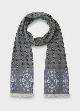 Echarpe en coton gris à motifs géométriques noir et vert clair 1 - Father And Sons