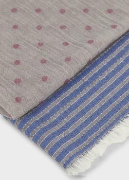 Echarpe en coton gris clair à motifs géométriques bleu et rose 2 - Father And Sons