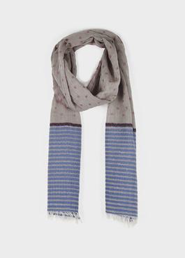 Echarpe en coton gris clair à motifs géométriques bleu et rose 1 - Father And Sons