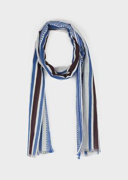 Echarpe en coton blanc à rayures bleu et marron 1 - Father And Sons