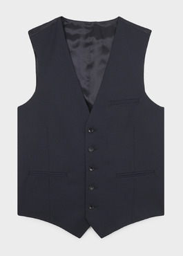 Gilet de costume en laine Vitale Barberis Canonico unie bleu marine 1 - Father And Sons