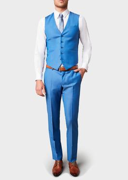 Gilet de costume en laine bleue 2 - Father And Sons