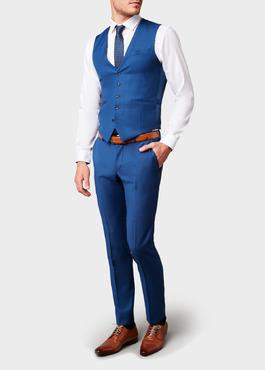 Gilet de costume en laine bleu indigo 2 - Father And Sons