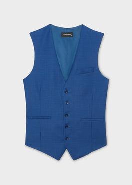 Gilet de costume en laine bleu indigo 1 - Father And Sons