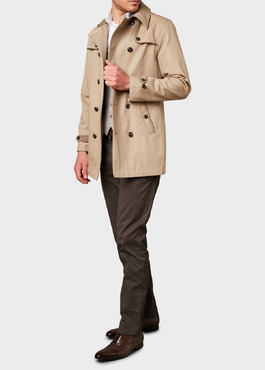 Trench droit double boutonnage uni beige 2 - Father And Sons
