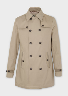 Trench droit double boutonnage uni beige 1 - Father And Sons