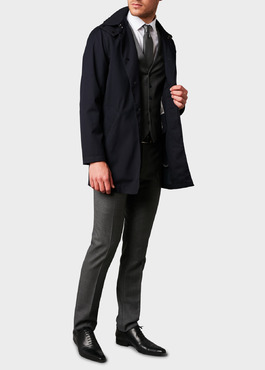 Trench droit uni bleu marine 2 - Father And Sons