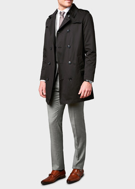 Trench droit double boutonnage uni noir 2 - Father And Sons