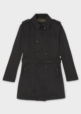 Trench droit double boutonnage uni noir 1 - Father And Sons