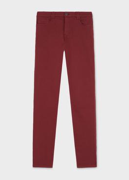 Jean skinny en coton hyperflex uni bordeaux 1 - Father And Sons