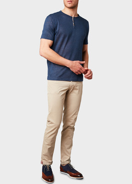 Chino slack skinny en coton stretch uni beige 2 - Father And Sons