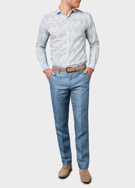 Pantalon coordonnable regular en lin uni bleu 2 - Father And Sons