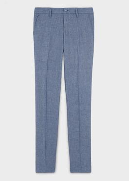 Pantalon coordonnable regular en lin uni bleu 1 - Father And Sons