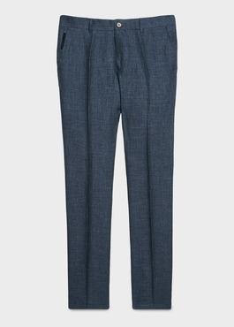 Pantalon ccoordonnable skinny en lin mélangé bleu marine 1 - Father And Sons